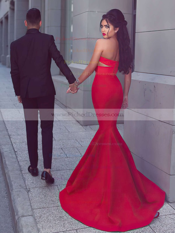 Trumpet/Mermaid Sweetheart Red Stretch Crepe with Ruffles Sweep Train Exclusive Backless Prom Dresses #PDS020103768