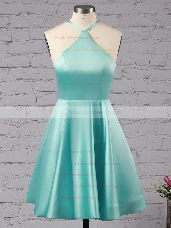 Casual Short/Mini A-line Halter Satin with Ruffles Backless Prom Dresses #PDS020103769
