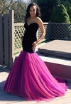 New Arrival Sweetheart Ruffles Tulle Sweep Train Trumpet/Mermaid Prom Dresses #PDS020103781