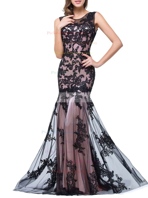 Trumpet/Mermaid Scoop Neck Sweep Train Tulle with Appliques Lace Prom Dresses #PDS020104144