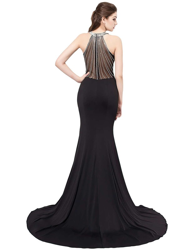 Trumpet/Mermaid Scoop Neck Sweep Train Chiffon Tulle with Crystal Detailing Prom Dresses #PDS020104149