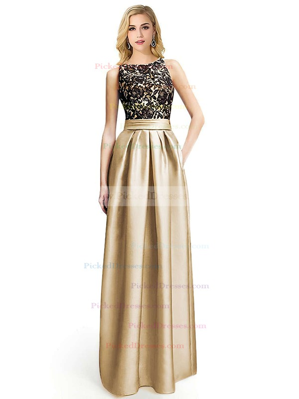 A-line Scoop Neck Floor-length Satin with Appliques Lace Prom Dresses #PDS020104152