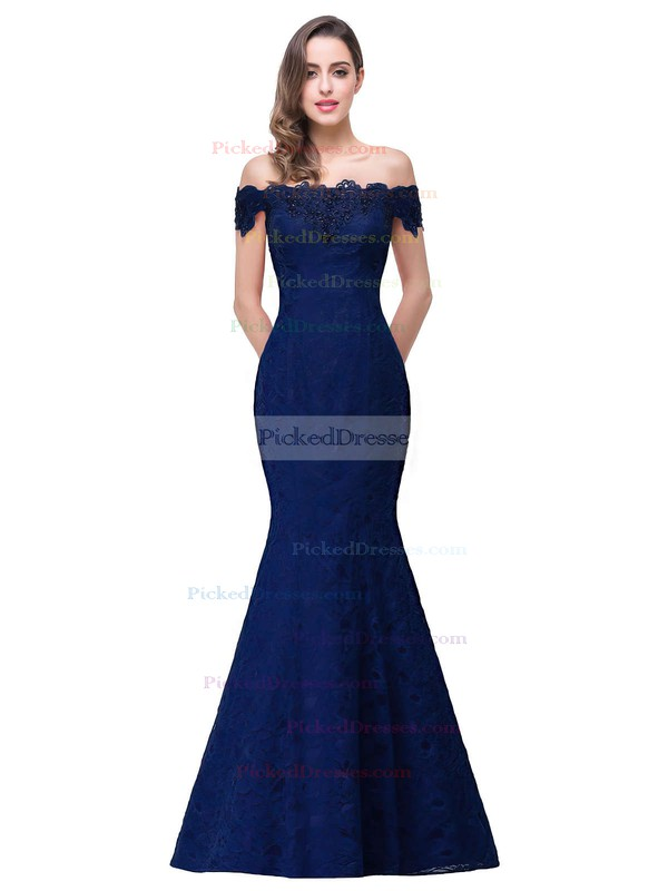 Trumpet/Mermaid Off-the-shoulder Floor-length Lace with Beading Prom Dresses #PDS020104153