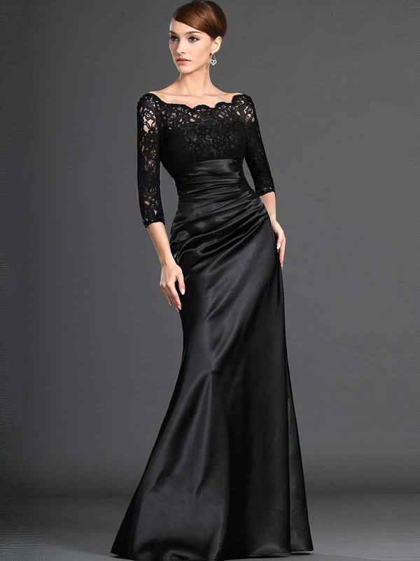 Ball Gown Scalloped Neck Floor-length Lace Satin with Ruffles Prom Dresses #PDS020104158