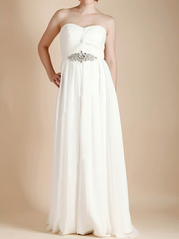 Empire Sweetheart Ivory Chiffon with Criss Cross Expensive Wedding Dresses #PDS00020481