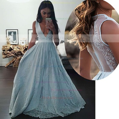 A-line V-neck Floor-length Tulle with Beading Prom Dresses #PDS020104343
