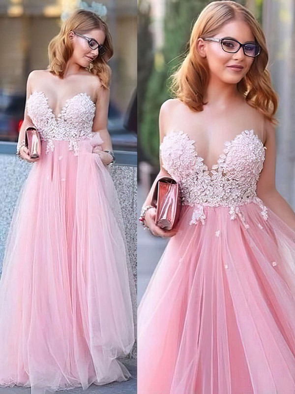 Princess Scoop Neck Floor-length Tulle with Appliques Lace Prom Dresses #PDS020104370
