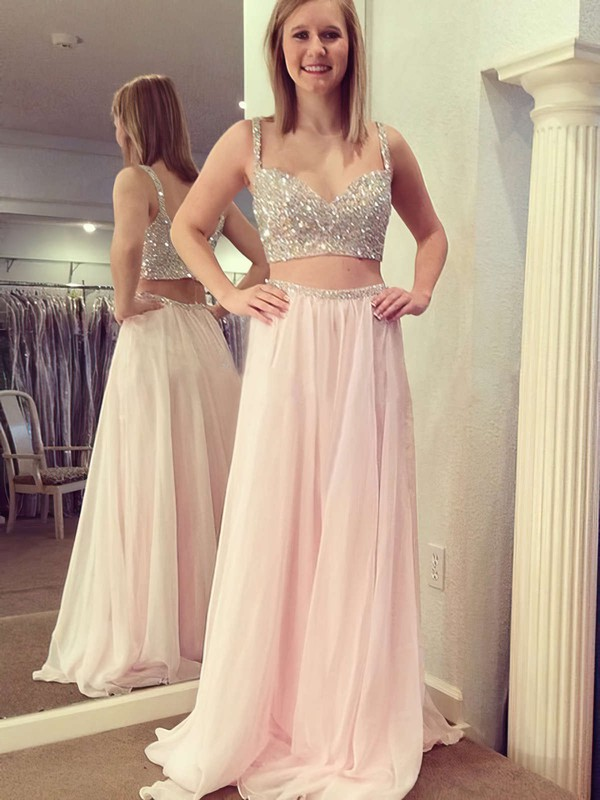 A-line V-neck Floor-length Chiffon with Beading Prom Dresses #PDS020104413