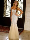 Trumpet/Mermaid Sweetheart Floor-length Tulle with Beading Prom Dresses #PDS020104415