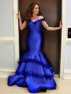 Trumpet/Mermaid Off-the-shoulder Floor-length Satin with Tiered Prom Dresses #PDS020104417