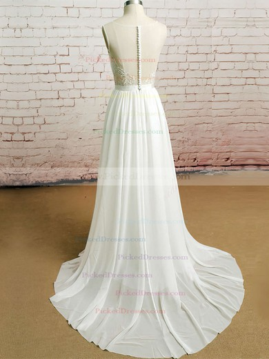 Court Train Ivory Chiffon Tulle Appliques Lace Scoop Neck Wedding Dresses #PDS00020482