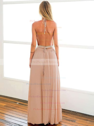 A-line Halter Ankle-length Chiffon with Split Front Prom Dresses #PDS020104432