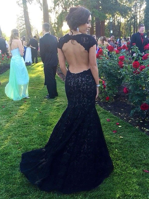 Trumpet/Mermaid Scoop Neck Sweep Train Lace with Appliques Lace Prom Dresses #PDS020104446