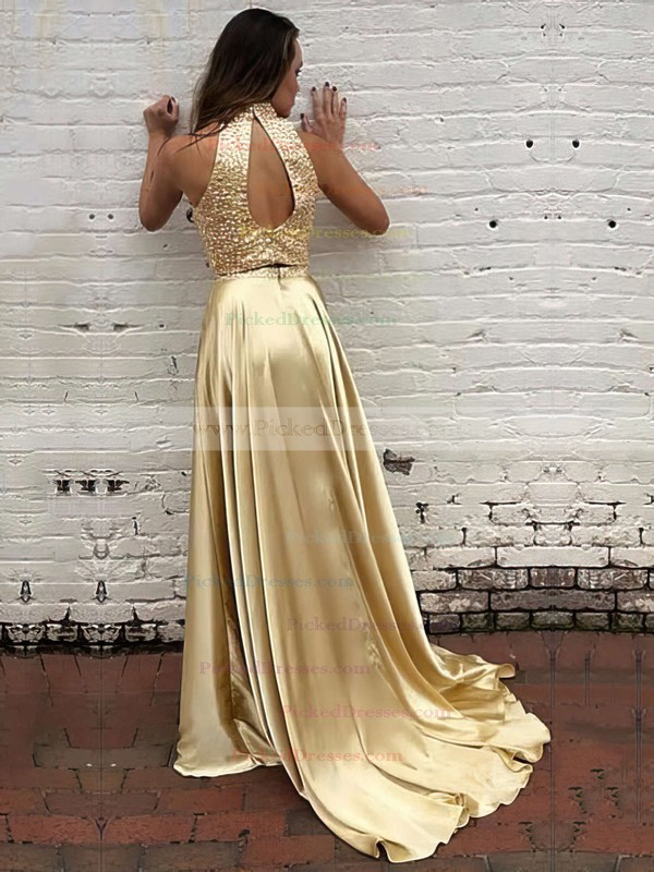 A-line High Neck Sweep Train with Beading Prom Dresses #PDS020104449