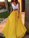 A-line V-neck Floor-length Lace Chiffon with Ruffles Prom Dresses #PDS020104484