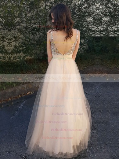 A-line Scoop Neck Floor-length Tulle with Beading Prom Dresses #PDS020104502