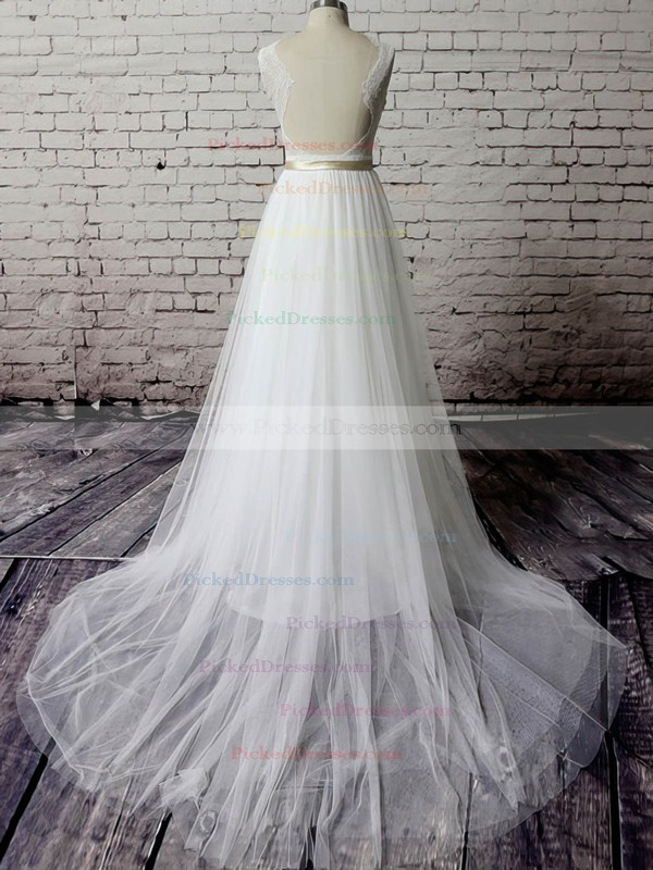 V-neck White Tulle Lace Sashes/Ribbons Backless Court Train Wedding Dress #PDS00020483