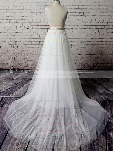 V-neck White Tulle Lace Sashes/Ribbons Backless Court Train Wedding Dress #PDS00020483