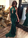 Trumpet/Mermaid Halter Sweep Train Jersey with Ruffles Prom Dresses #PDS020104527