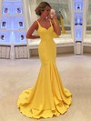 Trumpet/Mermaid V-neck Sweep Train with Ruffles Prom Dresses #PDS020104529