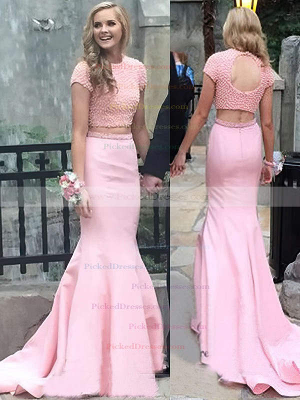 Trumpet/Mermaid Scoop Neck Sweep Train Satin with Pearl Detailing Prom Dresses #PDS020104541