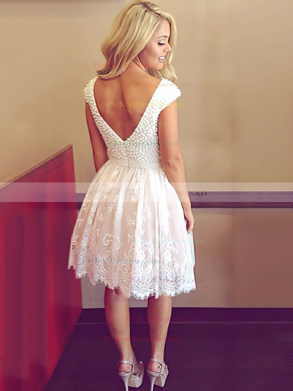 A-line Scoop Neck Short/Mini Tulle with Pearl Detailing Prom Dresses #PDS020104127