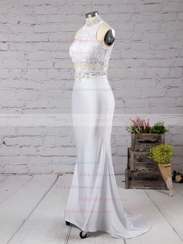 Trumpet/Mermaid High Neck Sweep Train Jersey Lace with Beading Prom Dresses #PDS020104545