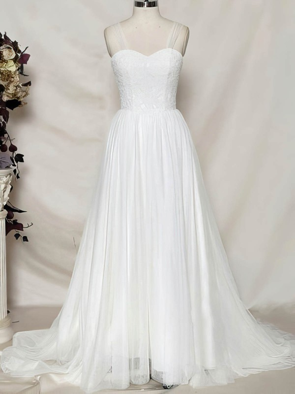 Sweetheart White Tulle with Appliques Lace Fashion Sweep Train Wedding Dress #PDS00020484