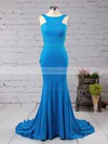 Trumpet/Mermaid Scoop Neck Sweep Train Jersey with Ruffles Prom Dresses #PDS020104555
