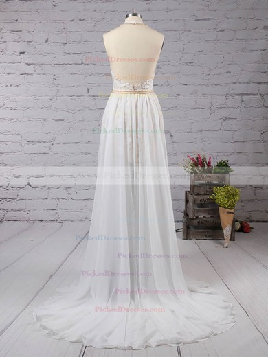 A-line Halter Sweep Train Chiffon with Split Front Prom Dresses #PDS020104575