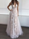 Elegant A-line V-neck Tulle Floor-length with Appliques Lace Prom Dress #PDS020104576