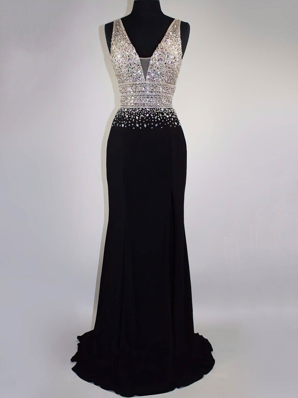 Black V-neck A-line Chiffon Floor-length with Beading Prom Dress #PDS020104591