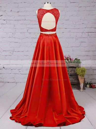 A-line Scoop Neck Satin Floor-length Beading Prom Dresses #PDS020104590