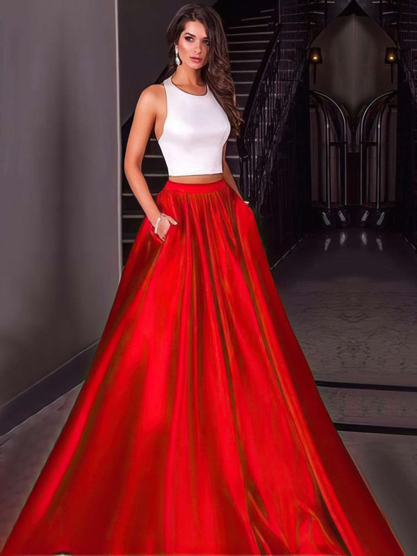 Two Piece Ball Gown Halter Red Satin Prom Dress #PDS020104589