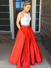 Fashion Two Piece Square Neck Satin with Appliques Lace Open Back Prom Dress #PDS020104587