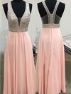 Pearl Pink V-neck A-line Chiffon with Beading Floor-length Prom Dress #PDS020104586