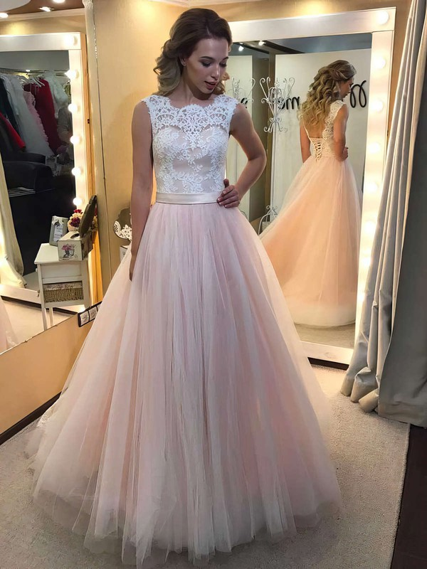 Princess Scalloped Neck Lace Tulle Floor-length Prom Dress #PDS020104585