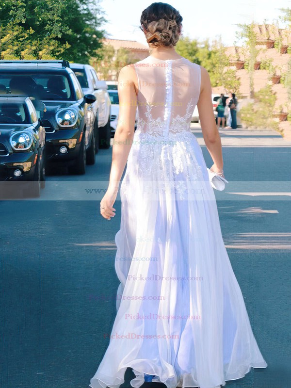 A-line Chiffon Scoop Neck with Appliques Lace Prom Dress #PDS020104582