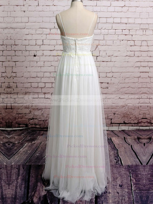 Tulle with Appliques Lace Spaghetti Straps V-neck Empire White Wedding Dresses #PDS00020485