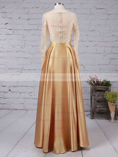 Amazing Gold A-line Satin Scoop Neck Long Sleeves Prom Dress #PDS020104577