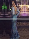 Trumpet/Mermaid V-neck Blue Lace Long Sleeve Open Back Floor-length Prom Dress #PDS020104614