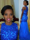 Royal Blue Trumpet/Mermaid Scoop Neck Chiffon with Appliques Lace Prom Dress #PDS020104611