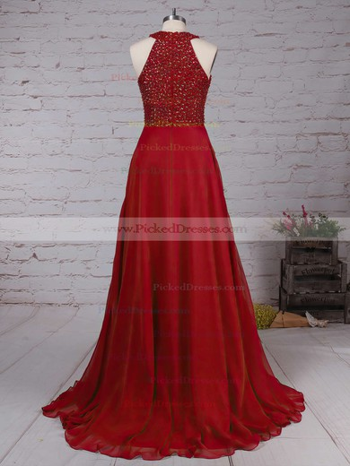 Burgundy A-line Scoop Neck Chiffon with Beading Floor-length Prom Dress #PDS020104608