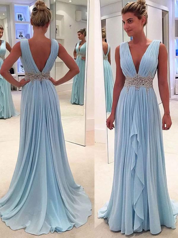Light Sky Blue A-line V-neck Chiffon Cascading Ruffles Sweep Train Prom Dress #PDS020104606