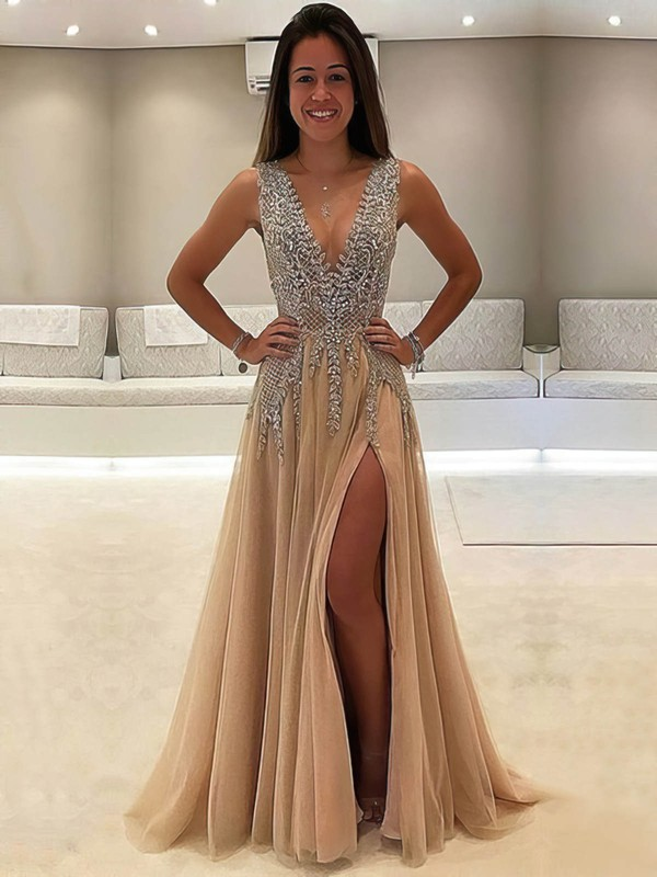 Luxury A-line V-neck Chiffon with Beading Floor-length Prom Dress #PDS020104604