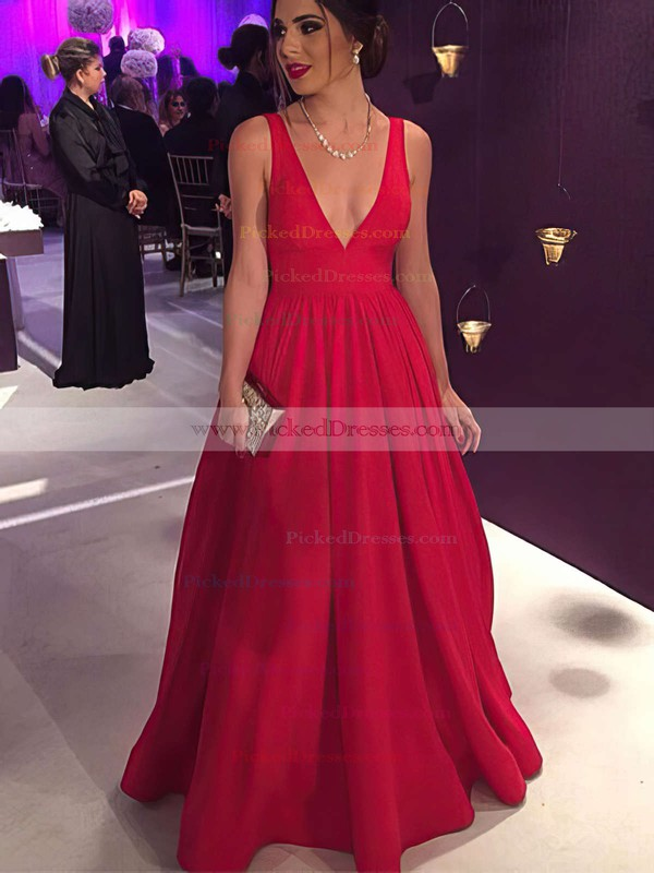 Elegant Red Ball Gown V-neck Satin Floor-length Prom Dress #PDS020104603