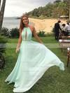 Elegant A-line Halter Chiffon Floor-length Prom Dress #PDS020104602