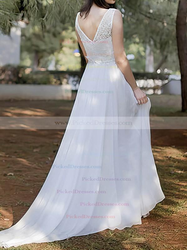 Vintage Scoop Neck Chiffon Lace Court Train White Wedding Dresses #PDS00020486