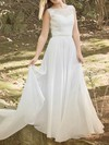 Vintage Scoop Neck Chiffon Lace Court Train White Wedding Dresses #PDS00020486