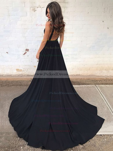 Princess V-neck Sweep Train Draped Prom Dresses #PDS020104837
